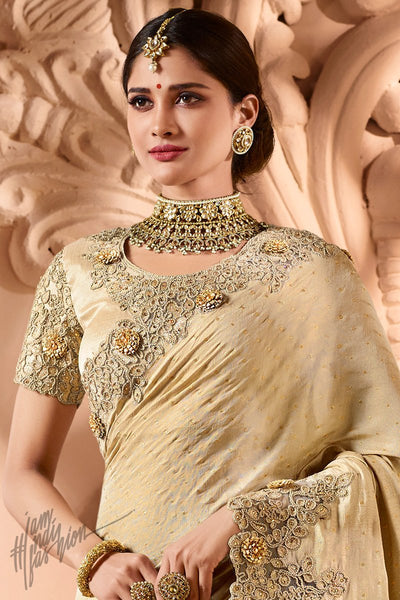 Cream Silk and Net Wedding Saree
