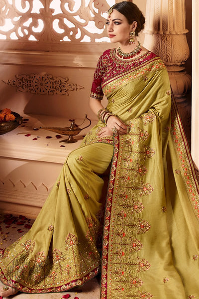 Mustard and Maroon Silk Wedding Saree