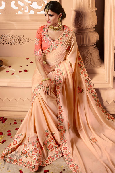 Light Peach Crepe Satin Wedding Saree
