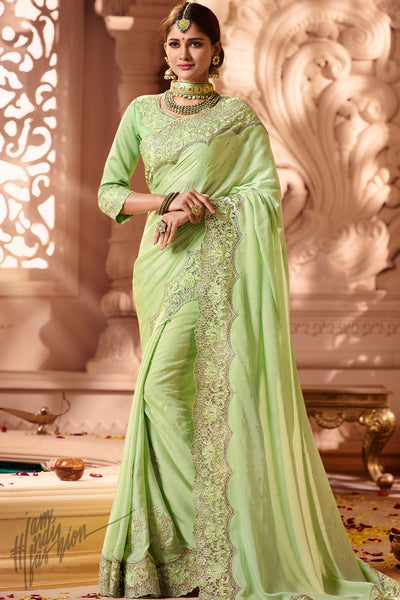 Light Green Modal Satin Wedding Saree