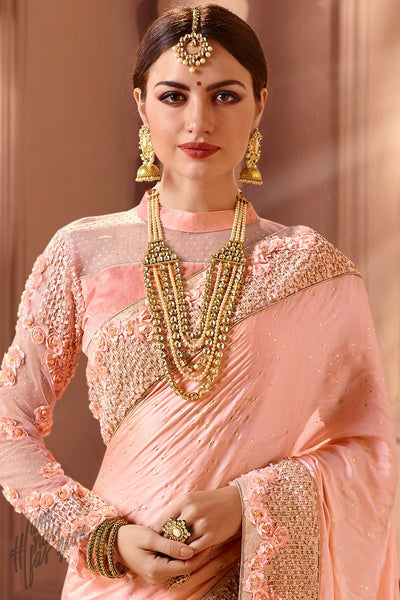 Light Pink Modal Satin Wedding Saree