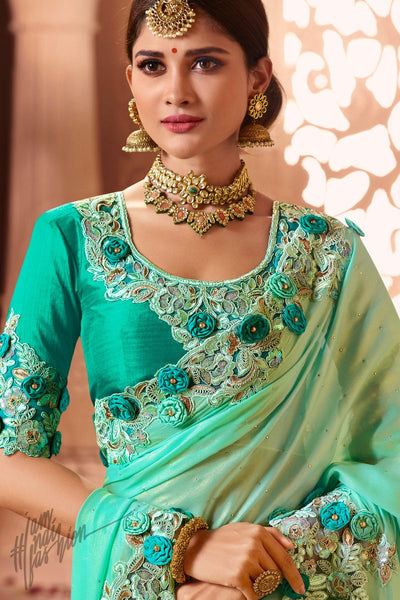 Sea Green Crepe Georgette and Net Wedding Saree
