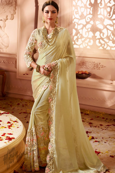 Light Yellow Satin Georgette and Net Wedding Saree