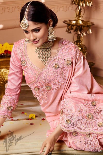 Baby Pink Dola Silk and Net Wedding Saree