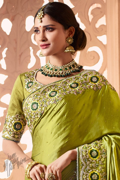 Lime Green Modal Satin Wedding Saree