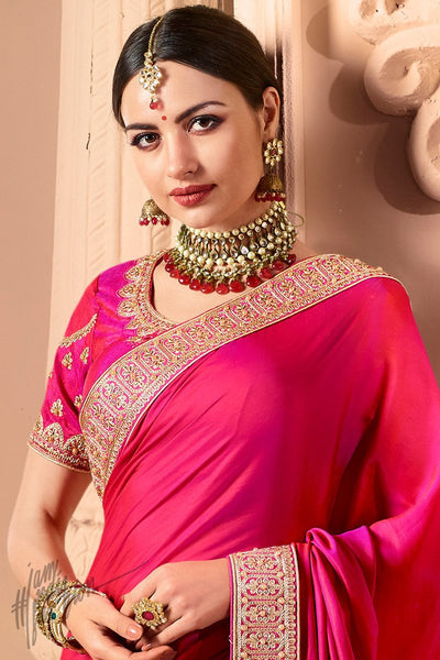 Rani and Light Pink half and Half Silk and Crepe Georgette Wedding Saree