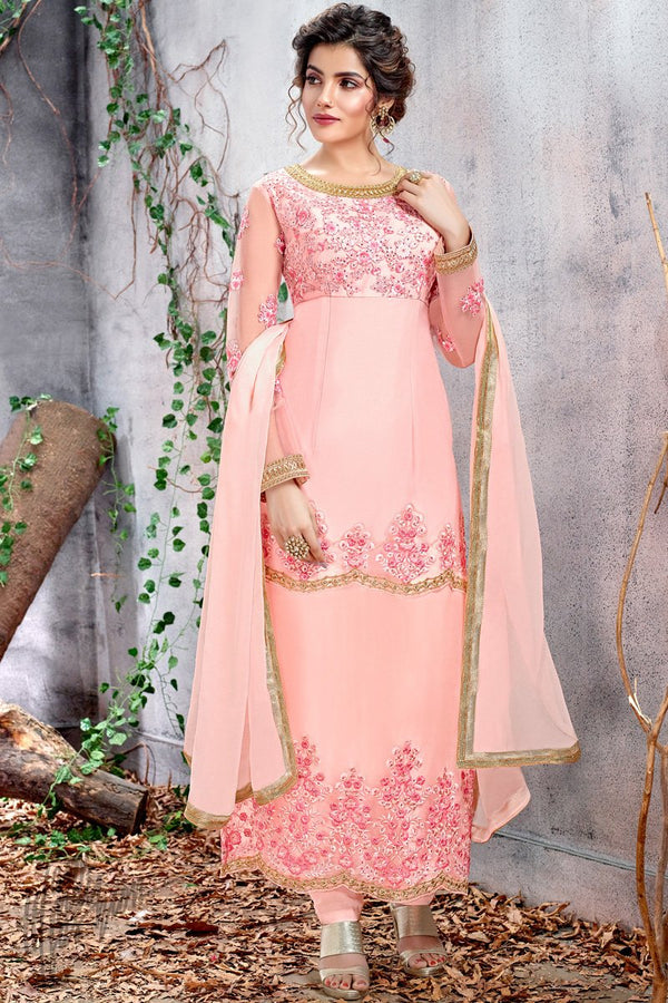 Baby Pink Butterfly Net Party Wear Straight Suit
