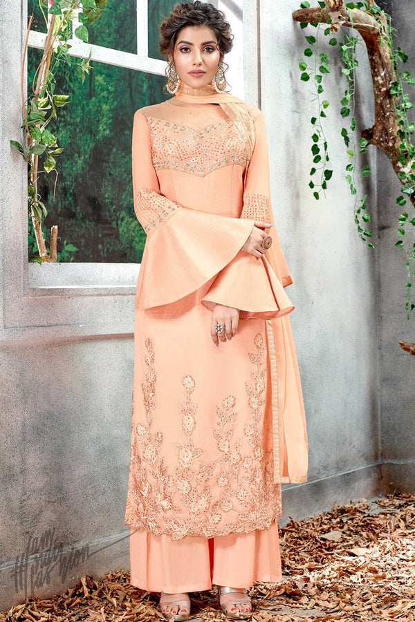 Peach Silk Party Wear Palazzo Suit