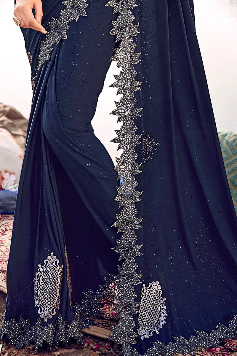 Midnight Blue Silk Wedding Saree