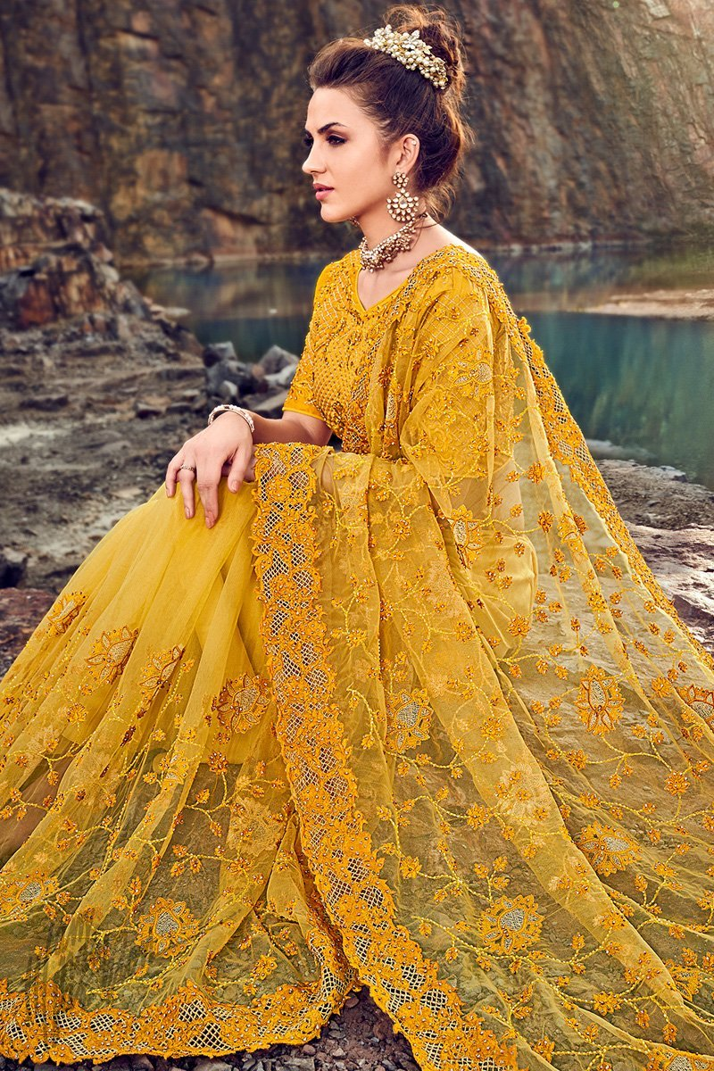 Yellow Net Wedding Saree