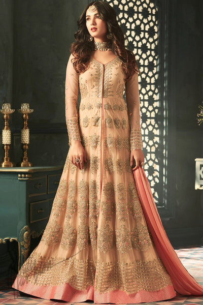 Indi Fashion Peach Net Floor Length Party Wear Suit
