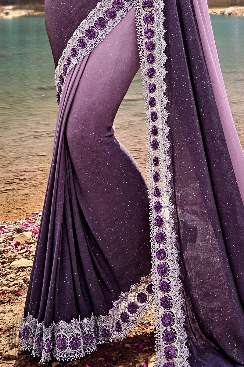 Mauve and Purple Ombre Silk Wedding Saree