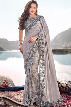 Silver Lycra and Net Wedding Saree