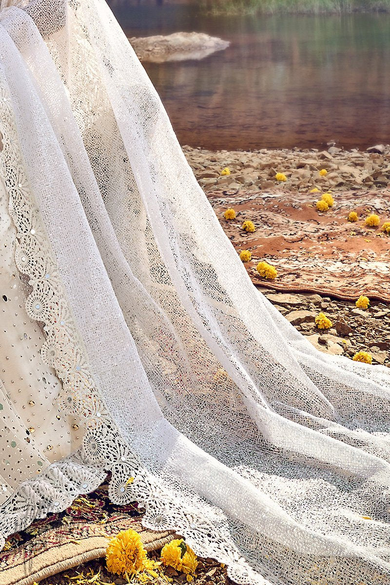 White Net Wedding Saree