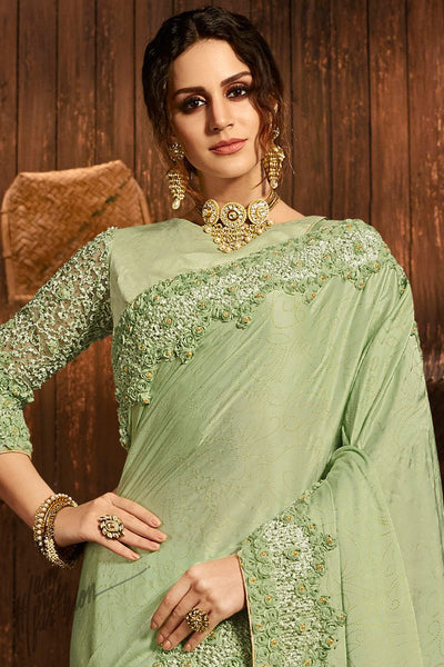Mint Green Pure Silk and Net Saree