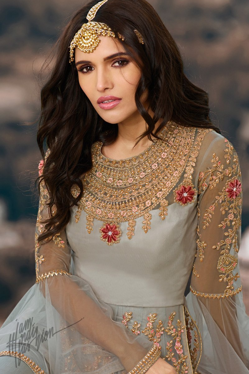Light Gray Round Net Anarkali Suit