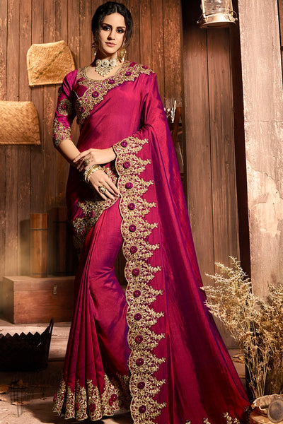 Wine Pure Silk Saree