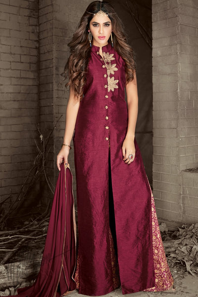 Indi Fashion Wine and Gold Silk Palazzo Style Party Wear Suit