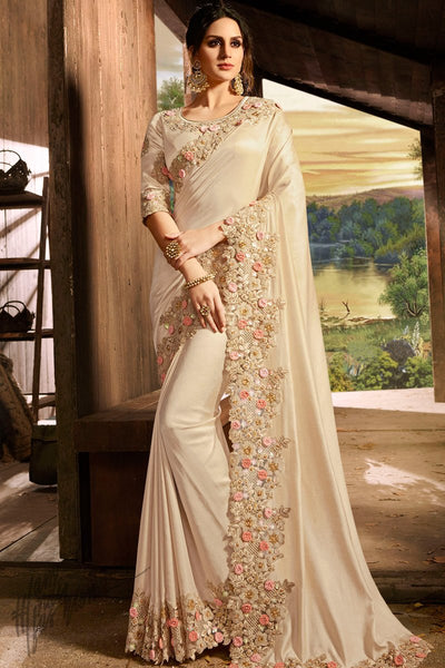 Cream Pure Silk and Net Saree