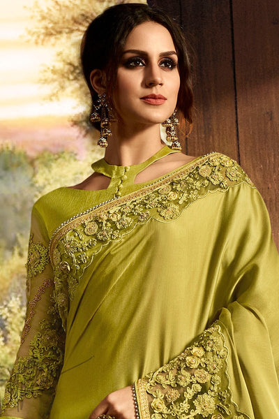 Olive Green Pure Silk and Net Saree
