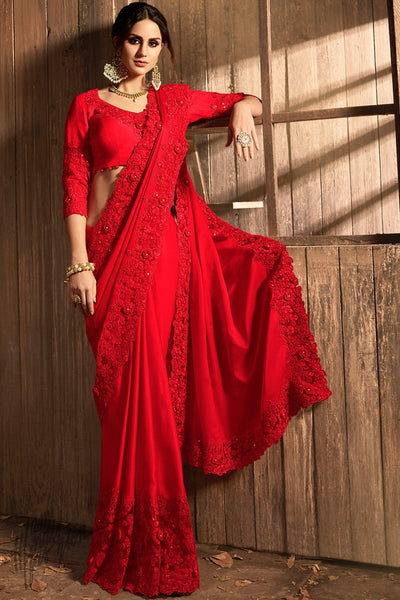 Dark Red Pure Silk and Net Saree