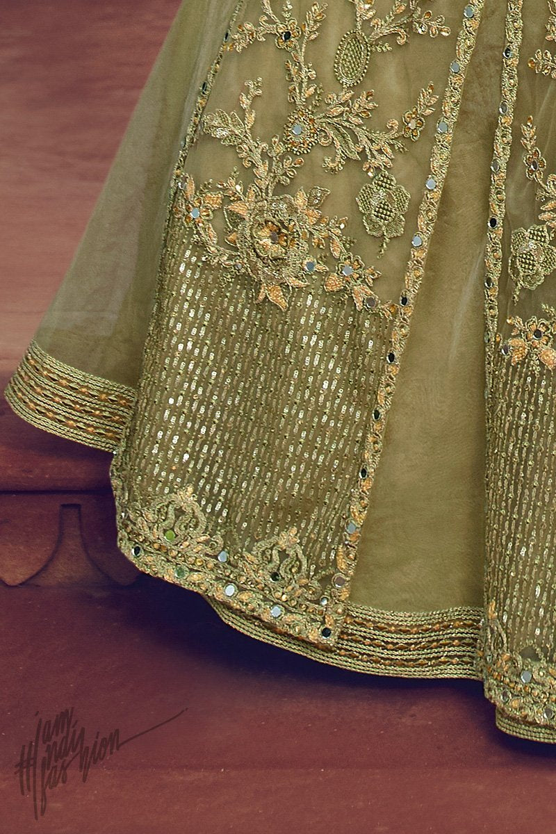 Pastel Green Butterfly Net Lehenga with Crop Top and Long Jacket