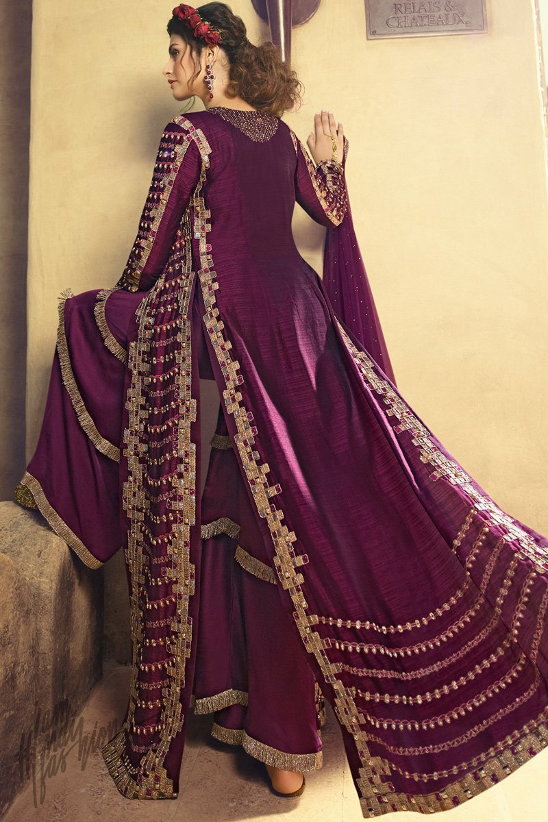 Wine Silk Sharara Suit with Crop Top and Long Jacket