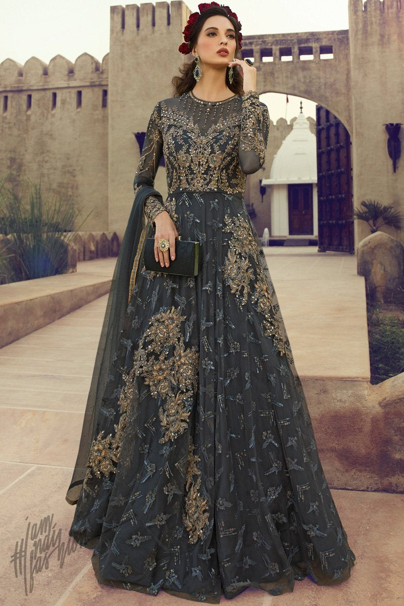 Charcoal Gray Butterfly Net Gown Style Anarkali Suit