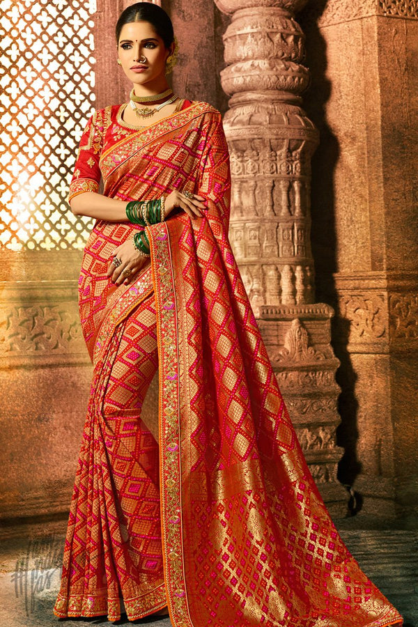 Red Pure Dola Silk Wedding Saree