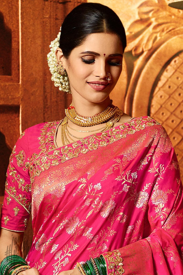 Hot Pink Pure Dola Silk Wedding Saree