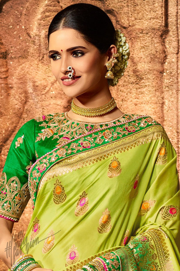 Lemon and Parrot Green Pure Dola Silk Wedding Saree