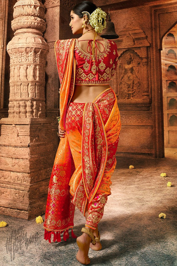 Orange and Red Pure Dola Silk Wedding Saree