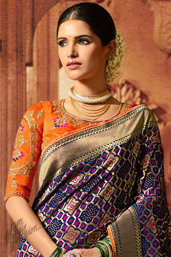 Blue and Orange Pure Dola Silk Wedding Saree