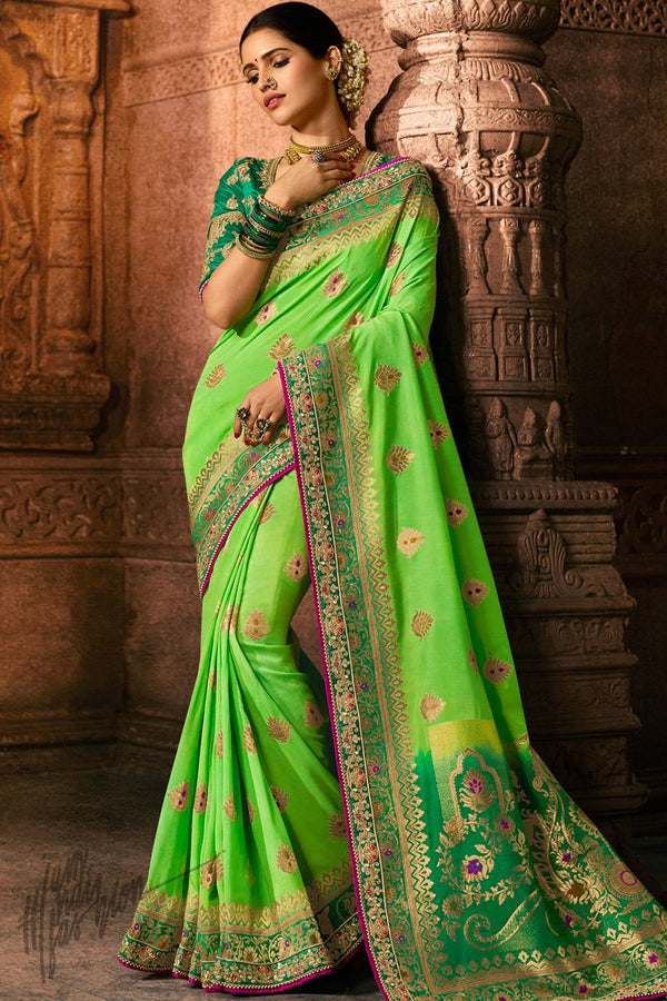Florocent and Rama Green Pure Dola Silk Wedding Saree