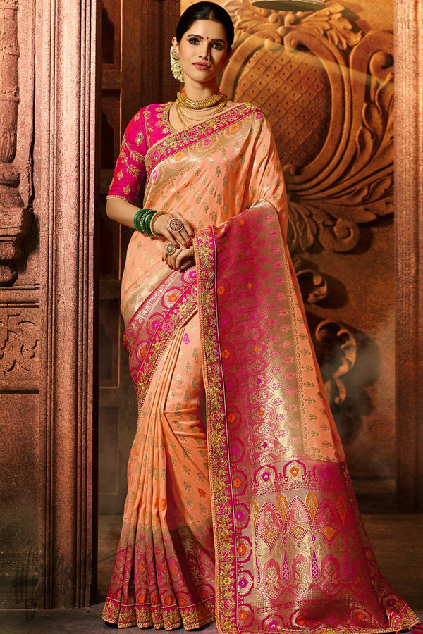 Peach and Magenta Pure Dola Silk Wedding Saree
