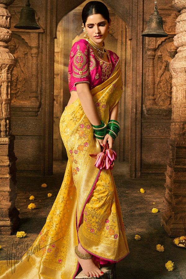 Sunflower Yellow and Magenta Pure Dola Silk Wedding Saree