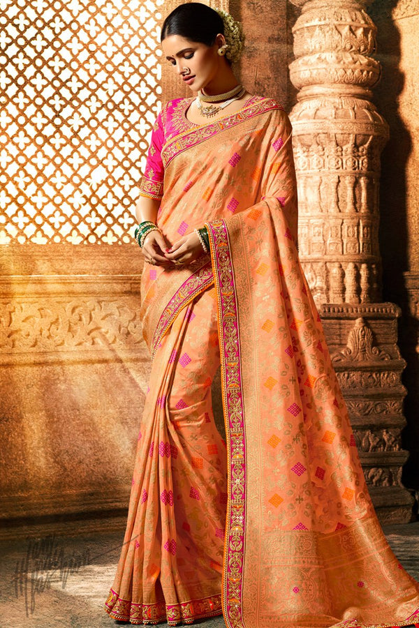 Peach and Fuschia Pink Pure Dola Silk Wedding Saree