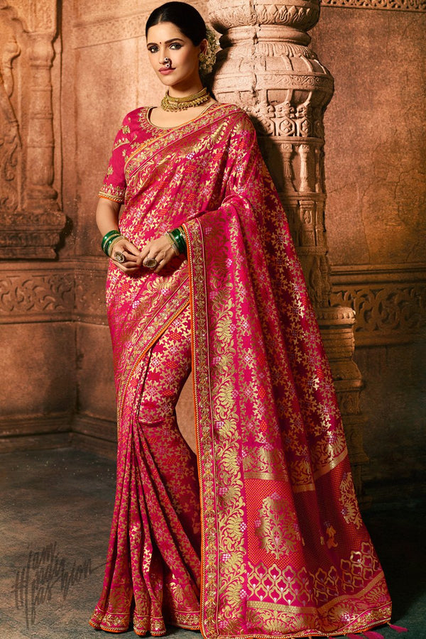 Magenta Pure Dola Silk Wedding Saree