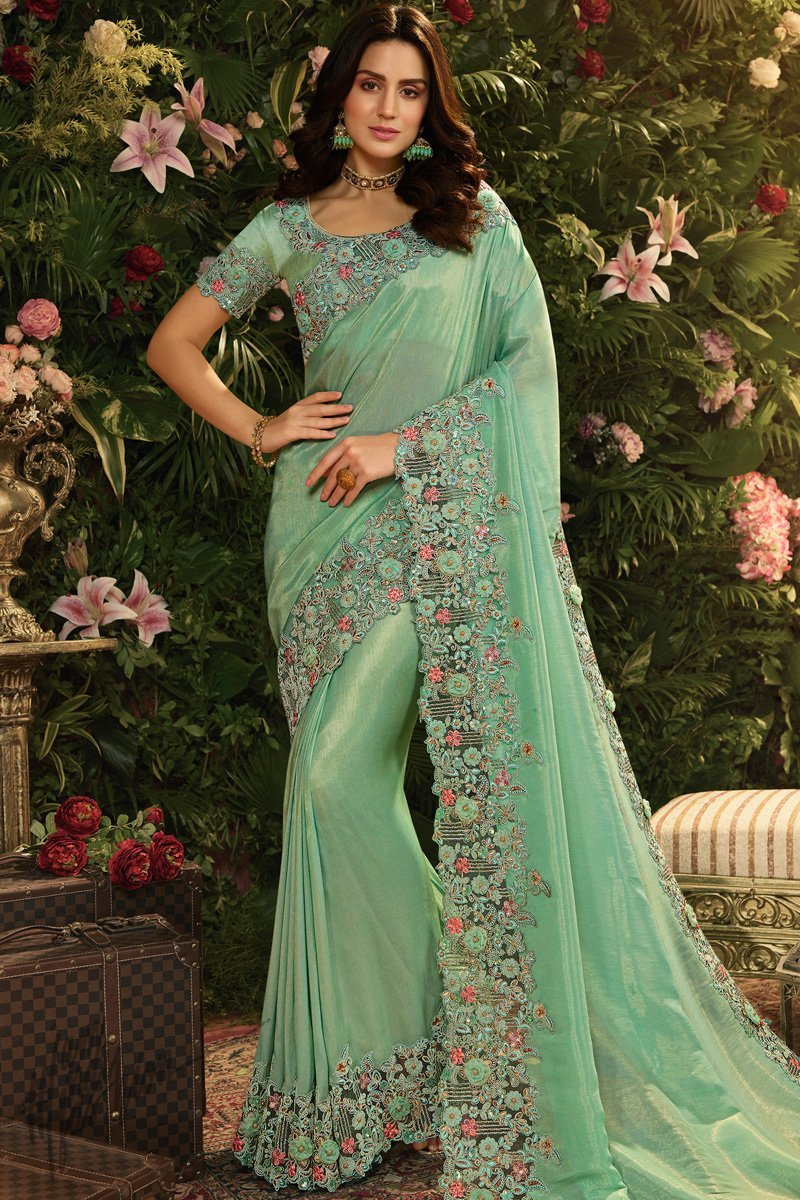 Pista Green Viscose Tissue and Net Saree