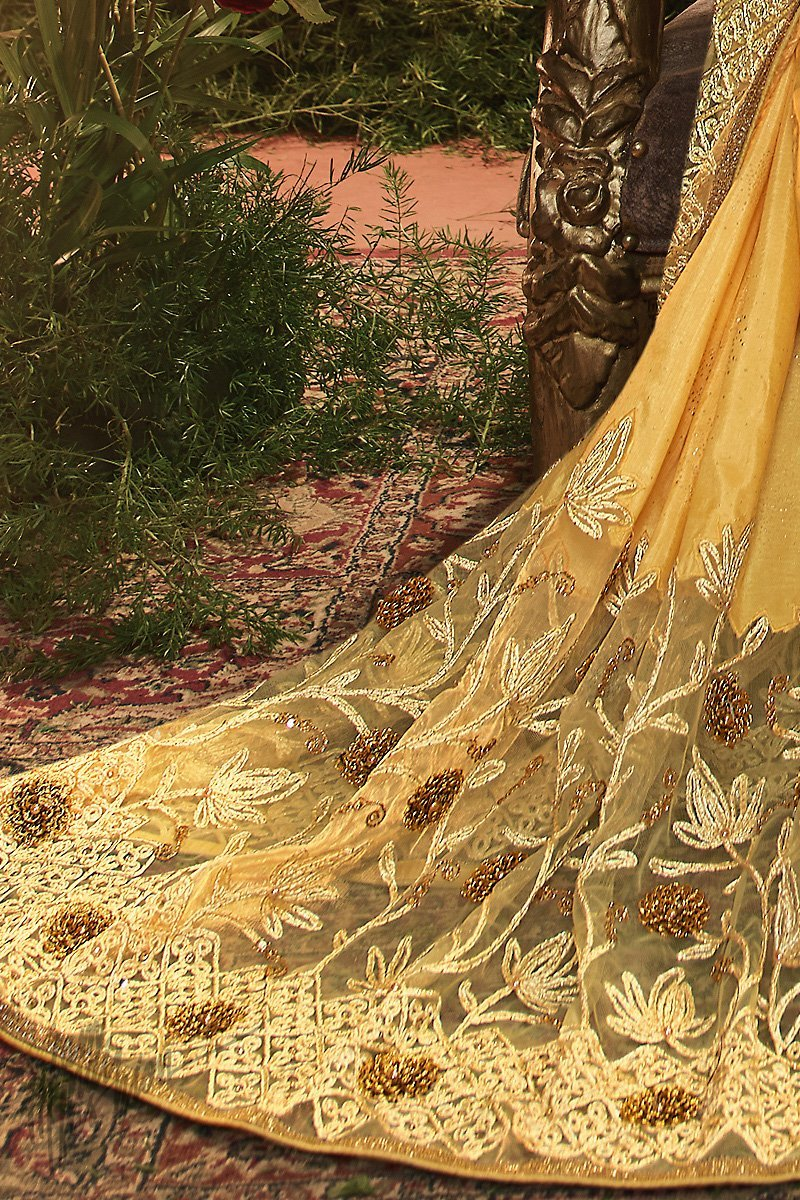 Yellow Pure Silk and Net Saree