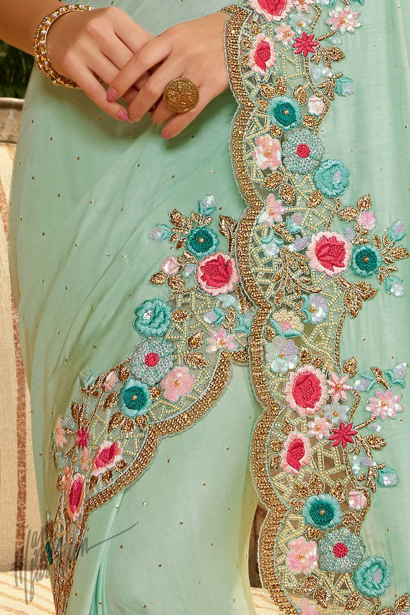 Sky Blue and Teal Green Pure Silk and Net Saree