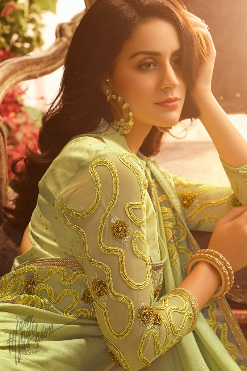 Lemon Green Pure Silk and Net Saree