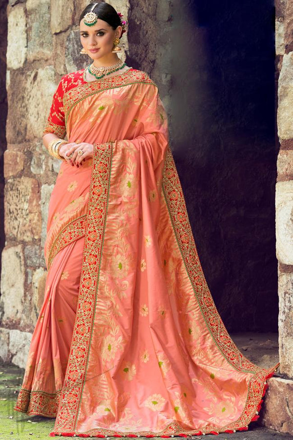 Indi Fashion Onion Pink and Red Silk Embroidered Saree