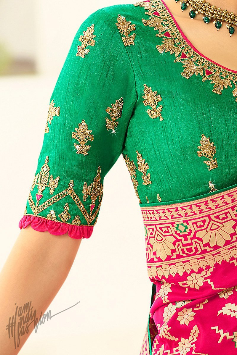 Rani Pink and Green Banarasi Silk Saree