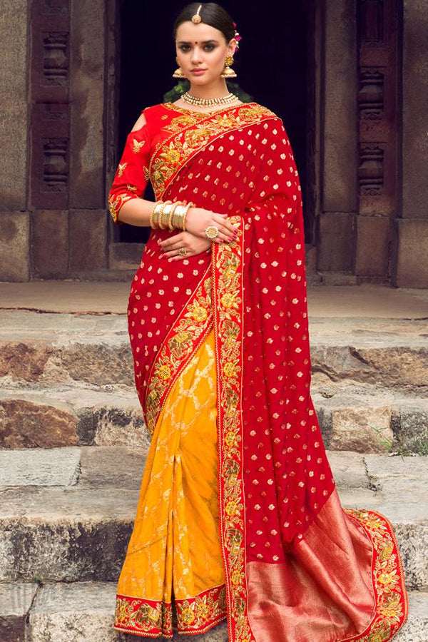 Indi Fashion Red and Yellow Half and Half Silk Embroidered Saree