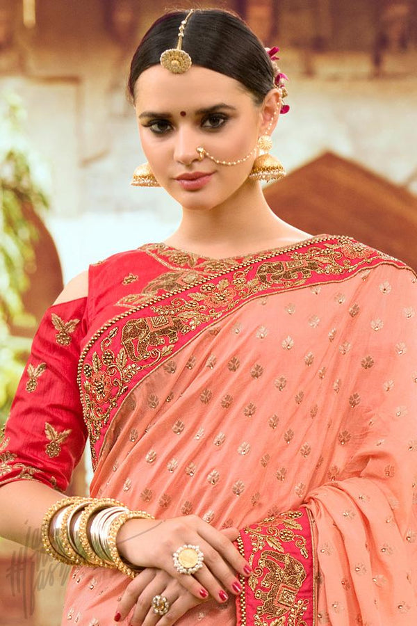 Indi Fashion Onion Pink and Red Half and Half Silk Embroidered Saree