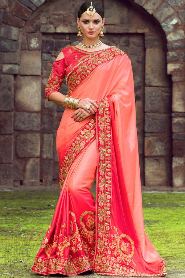 Indi Fashion Pink Ombre Silk Embroidered Saree