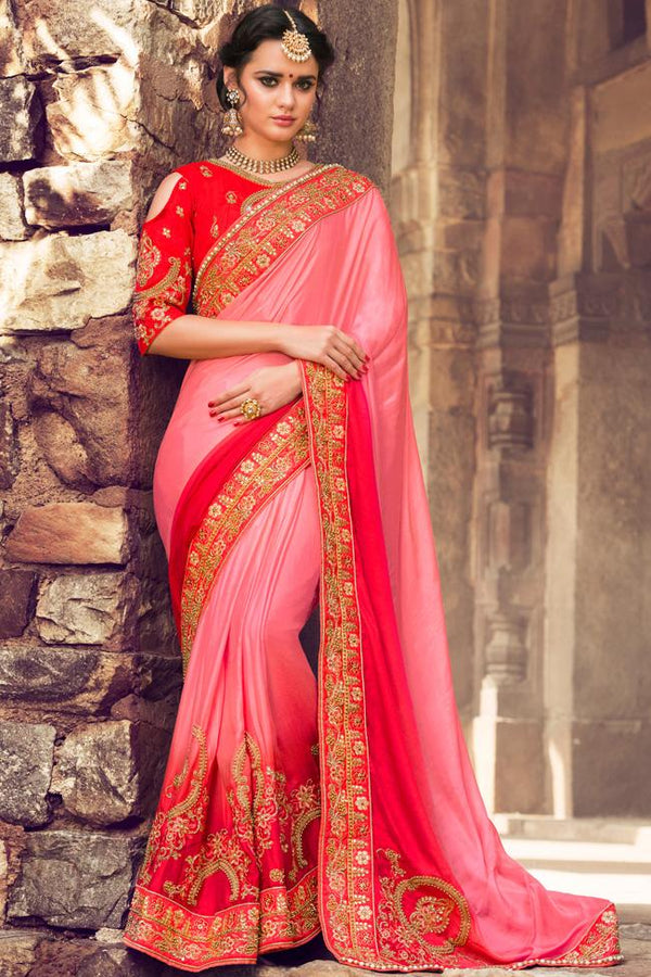 Indi Fashion Onion Pink and Red Dual Tone Silk Embroidered Saree