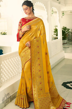 Mustard and Maroon Banarasi Silk Saree