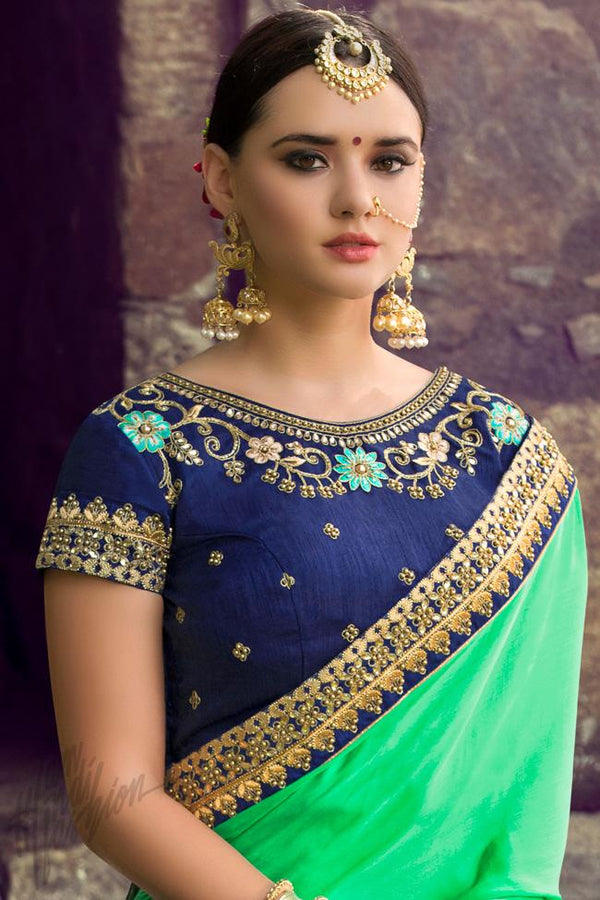 Indi Fashion Green and Blue Silk Embroidered Saree